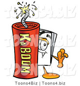 Illustration of a Cartoon Paper Mascot Standing with a Lit Stick of Dynamite by Toons4Biz