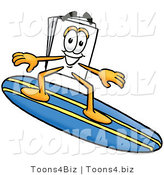 Illustration of a Cartoon Paper Mascot Surfing on a Blue and Yellow Surfboard by Toons4Biz