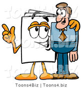 Illustration of a Cartoon Paper Mascot Talking to a Business Man by Toons4Biz