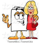 Illustration of a Cartoon Paper Mascot Talking to a Pretty Blond Woman by Toons4Biz