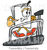 Illustration of a Cartoon Paper Mascot Walking on a Treadmill in a Fitness Gym by Toons4Biz