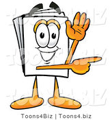 Illustration of a Cartoon Paper Mascot Waving and Pointing by Toons4Biz
