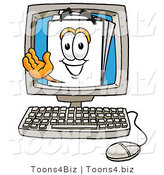Illustration of a Cartoon Paper Mascot Waving from Inside a Computer Screen by Toons4Biz