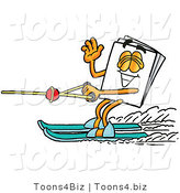 Illustration of a Cartoon Paper Mascot Waving While Water Skiing by Toons4Biz