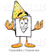 Illustration of a Cartoon Paper Mascot Wearing a Birthday Party Hat by Toons4Biz