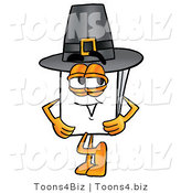 Illustration of a Cartoon Paper Mascot Wearing a Pilgrim Hat on Thanksgiving by Toons4Biz