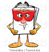 Illustration of a Cartoon Paper Mascot Wearing a Red Mask over His Face by Toons4Biz