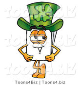 Illustration of a Cartoon Paper Mascot Wearing a Saint Patricks Day Hat with a Clover on It by Toons4Biz
