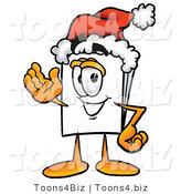 Illustration of a Cartoon Paper Mascot Wearing a Santa Hat and Waving by Toons4Biz