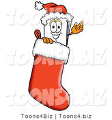Illustration of a Cartoon Paper Mascot Wearing a Santa Hat Inside a Red Christmas Stocking by Toons4Biz