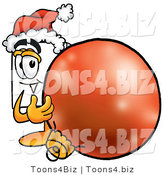 Illustration of a Cartoon Paper Mascot Wearing a Santa Hat, Standing with a Christmas Bauble by Toons4Biz