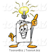 Illustration of a Cartoon Paper Mascot with a Bright Idea by Toons4Biz