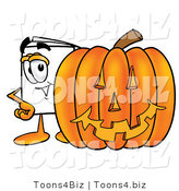 Illustration of a Cartoon Paper Mascot with a Carved Halloween Pumpkin by Toons4Biz