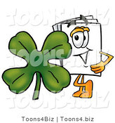Illustration of a Cartoon Paper Mascot with a Green Four Leaf Clover on St Paddy's or St Patricks Day by Toons4Biz