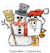 Illustration of a Cartoon Paper Mascot with a Snowman on Christmas by Toons4Biz