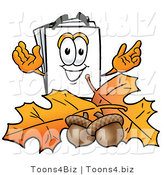 Illustration of a Cartoon Paper Mascot with Autumn Leaves and Acorns in the Fall by Toons4Biz
