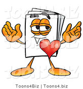 Illustration of a Cartoon Paper Mascot with His Heart Beating out of His Chest by Toons4Biz
