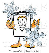 Illustration of a Cartoon Paper Mascot with Three Snowflakes in Winter by Toons4Biz