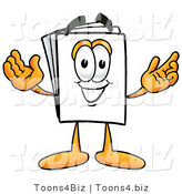 Illustration of a Cartoon Paper Mascot with Welcoming Open Arms by Toons4Biz