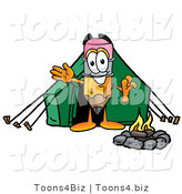 Illustration of a Cartoon Pencil Mascot Camping with a Tent and Fire by Toons4Biz