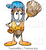 Illustration of a Cartoon Pencil Mascot Catching a Baseball with a Glove by Toons4Biz