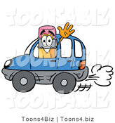Illustration of a Cartoon Pencil Mascot Driving a Blue Car and Waving by Toons4Biz