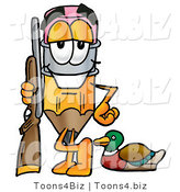 Illustration of a Cartoon Pencil Mascot Duck Hunting, Standing with a Rifle and Duck by Toons4Biz
