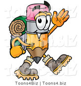 Illustration of a Cartoon Pencil Mascot Hiking and Carrying a Backpack by Toons4Biz