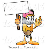 Illustration of a Cartoon Pencil Mascot Holding a Blank Sign by Toons4Biz