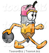 Illustration of a Cartoon Pencil Mascot Holding a Bowling Ball by Toons4Biz