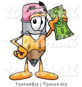 Illustration of a Cartoon Pencil Mascot Holding a Dollar Bill by Toons4Biz