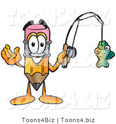 Illustration of a Cartoon Pencil Mascot Holding a Fish on a Fishing Pole by Toons4Biz