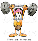Illustration of a Cartoon Pencil Mascot Holding a Heavy Barbell Above His Head by Toons4Biz