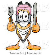 Illustration of a Cartoon Pencil Mascot Holding a Knife and Fork by Toons4Biz