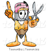 Illustration of a Cartoon Pencil Mascot Holding a Pair of Scissors by Toons4Biz