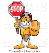 Illustration of a Cartoon Pencil Mascot Holding a Stop Sign by Toons4Biz