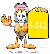 Illustration of a Cartoon Pencil Mascot Holding a Yellow Sales Price Tag by Toons4Biz