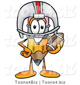 Illustration of a Cartoon Pencil Mascot in a Helmet, Holding a Football by Toons4Biz