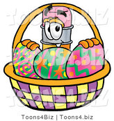 Illustration of a Cartoon Pencil Mascot in an Easter Basket Full of Decorated Easter Eggs by Toons4Biz