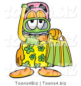 Illustration of a Cartoon Pencil Mascot in Green and Yellow Snorkel Gear by Toons4Biz