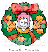Illustration of a Cartoon Pencil Mascot in the Center of a Christmas Wreath by Toons4Biz