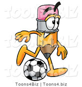 Illustration of a Cartoon Pencil Mascot Kicking a Soccer Ball by Toons4Biz