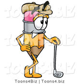 Illustration of a Cartoon Pencil Mascot Leaning on a Golf Club While Golfing by Toons4Biz