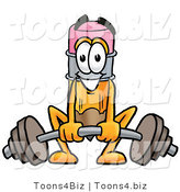Illustration of a Cartoon Pencil Mascot Lifting a Heavy Barbell by Toons4Biz