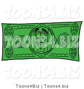Illustration of a Cartoon Pencil Mascot on a Dollar Bill by Toons4Biz