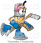 Illustration of a Cartoon Pencil Mascot Playing Ice Hockey by Toons4Biz
