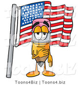 Illustration of a Cartoon Pencil Mascot Pledging Allegiance to an American Flag by Toons4Biz