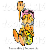 Illustration of a Cartoon Pencil Mascot Plugging His Nose While Jumping into Water by Toons4Biz