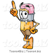 Illustration of a Cartoon Pencil Mascot Pointing Upwards by Toons4Biz