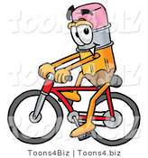Illustration of a Cartoon Pencil Mascot Riding a Bicycle by Toons4Biz